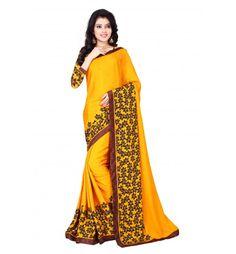 Yellow Colour Satin Chiffon Fashion Saree