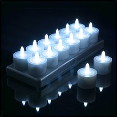 Set of 12 Restaurant Quality Rechargeable Tea Lights; Flickering White LEDs WITHOUT Glass Holders, Charging Base with Metal Contacts: String Lights and Party Lights Led Tea Lights, Party Lights, String Lights, Novelty Lighting, Glass Holders, Good Energy, Led Candles, Shop Lighting, Restaurant