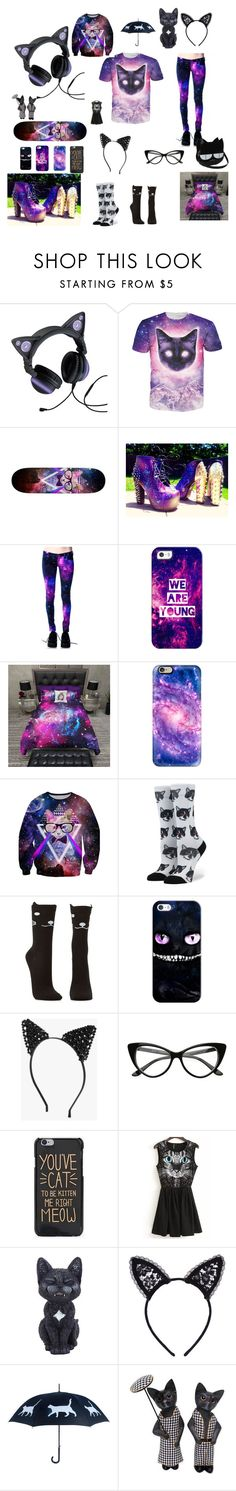 """Hipster Cat (Galaxy)"" by julia-gaines on Polyvore featuring Casetify, Stance, Charlotte Russe, Boohoo, Fleur du Mal and NOVICA"