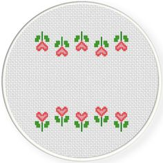 FREE for Nov 2nd 2016 Only - Heart Flower Border Cross Stitch Pattern