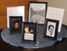 Memorial Table. I included a picture of each person who passed away, their obituary, a poem, and a lit candle.