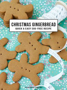 Easiest and best gingerbread recipe you will ever make. Only 6 ingredients and no egg. Egg free recipe. Makes 24 gingerbread men. Ideal for Christmas gifts.