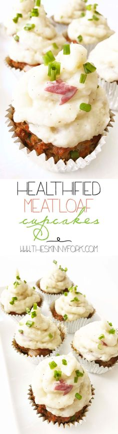 These Healthified Meatloaf Cupcakes & Cauliflower Mash are sure to be the star of the dinner table! Loaded up with sneaky vegetables and plenty of flavor. Plus, I mean... they're adorable! TheSkinnyFork.com | Skinny & Healthy Recipes #meatloafrecipeshealthy