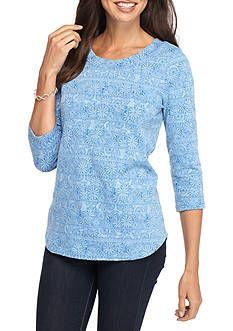 Kim Rogers® Three Quarter Boat Neck Floral Knit Top