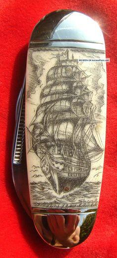 Scrimshaw Art, Tall Ship, Lighthouse, Ele Toe Nail 2 Blade Folding Knife/knives Photos and Information in AncientPoint Diy Knife, Knife Art, Vintage Pocket Knives, Powder Horn, Ship Drawing, Cool Knives, Metal Engraving, Detail Art, Custom Knives