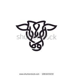 Bull / Cow / Angus / Cattle Head with Celtic Style Logo design inspiration - buy this stock vector on Shutterstock & find other images. Bull Tattoos, Taurus Tattoos, Head Tattoos, Wrist Tattoos, Tatoos, Cow Logo, Farm Logo, Cnc, Scottish Tattoos