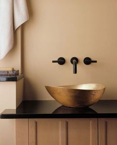Love this sink - or something like it. Plus the spout and handles mounted on the wall means easier cleaning no matter what kind of sink. - Home Decorating Magazines Bad Inspiration, Bathroom Inspiration, Bowl Sink, Vessel Sink, Bathroom Faucets, Wall Faucet, Gold Bathroom, Beautiful Bathrooms, Bathroom Interior
