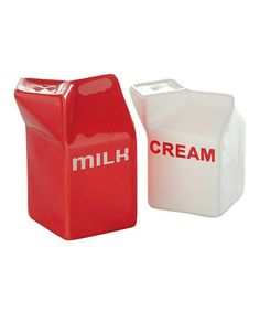 Take a look at this 'Milk' & 'Cream' Salt & Pepper Shakers by tag on #zulily today!