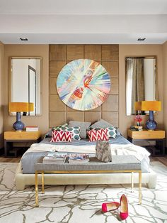 Funky yet polished bedroom with spin art luxury furniture, Exclusive Design, Designer Furniture, Interior Design, Best decor, Decorating secrets, entrance hall,living area. get inspired on: http://www.bocadolobo.com/en/inspiration-and-ideas/
