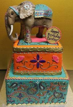 Indian inspired cake- gorgeous colors and an amazing elephant! All kinds of fun possibilities for an Indian culture inspired party- henna tattoos, saris, bright colors, awesome food. Gorgeous Cakes, Pretty Cakes, Cute Cakes, Amazing Cakes, Indian Cake, Indian Wedding Cakes, Indian Weddings, Crazy Cakes, Fancy Cakes