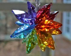 "Rainbow Colored Crystal Suncatcher ""ALEXANDRA LONG"" - 9"" Swarovski Crystal Suncatcher for Home Window - Also Comes in Short for Car"