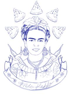 Ilustración I - Frida Kahlo on Behance Mexican Embroidery, Embroidery Art, Embroidery Patterns, Coloring Books, Coloring Pages, Kahlo Paintings, Arte Popular, Collage, Mexican Art