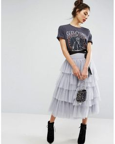 Shop ASOS tulle midi prom skirt with tiers and tie waist. With a variety of delivery, payment and return options available, shopping with ASOS is easy and secure. Shop with ASOS today. Jupe Midi Tulle, Grey Tulle Skirt, Tulle Skirts, Denim Skirts, Midi Skirts, Ruffle Skirt, Asos Skirts, Tulle Skirt Outfits, Ruffles