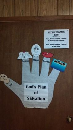 Steps to Salvation - can use as a bulletin or make as a take home sheet. I also bought small gloves at the Dollar Tree and used velcro to add each step as we said or sang about them.