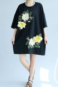 Women loose fitting over plus size embroidery flower pocket dress skater tunic #Unbranded #dress #Casual
