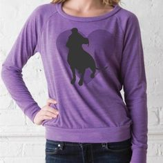 Pit Bull Heart Eco Purple Ladies' Slouchy Pullover, Dog Park Publishing