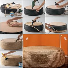 How to DIY Rope Ottoman from Old Tire