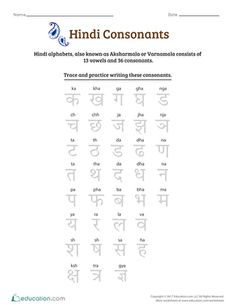 Hindi alphabets, also known as Aksharmala or Varnamala, consist of 13 vowels and 36 consonants. This worksheet offers an overview of the consonants. Keep it handy as you complete our Introduction to Hindi Vowels and Consonants series. 1st Grade Reading Worksheets, Alphabet Writing Worksheets, English Worksheets For Kindergarten, Preschool Worksheets, Hindi Language Learning, Japanese Language Learning, Foreign Language, Cursive Small Letters, Letters For Kids