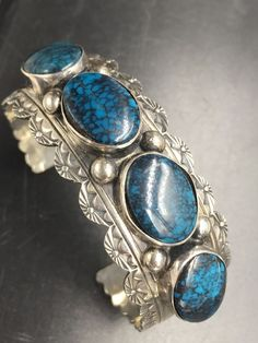Navajo Handmade Sterling Silver 4 Matched High Grade Turquoise Cuff Bracelet B14