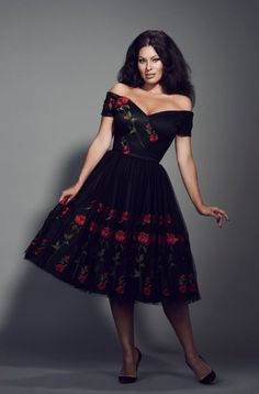Make a statement in our Fatale Embroidered Prom Dress. A stunning design, embroidered red roses are set against a black tulle background while a net petticoat gives the skirt its shape #fashion #style #ImmodestyBlaize #pinup #LBD #littleblackdress #floral #roses #elegant #chic #classic #sophisticated #retro #vintage #celeb #celebstyle #celebrity #celebritystyle #getthelook #theprettydress #theprettydresscompany