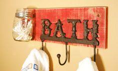 Barn Red Bathroom Towel Hook Board with Mason jars by SplintersAndNails, $32.50