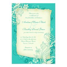 """Turquoise and Ivory Floral Wedding Invitation 5"""" X 7"""" Invitation Card"""