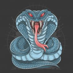Cobra snake wild beast vector Premium Ve. Snake Drawing, Snake Art, Arte Bruce Lee, Kobra Tattoo, King Cobra Snake, Bauch Tattoos, Unicorn Poster, Dragon Artwork, Snake Tattoo