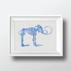 Watercolor Dinosaur Bones Vintage Illustration by VNBDesigns