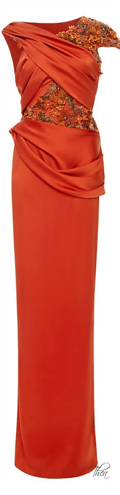 Marchesa Fall 2014, Persimmon Silk Crepe Gown | The House of Beccaria~