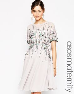 ASOS Maternity Midi Skater Dress With Iridescent Embellishment