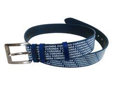 History in blau mit weiss gedruckten Logos auf blauem Kuhleder. Dieser Gürtel erzählt die Geschichte vom Anfang der Brand Coronda. Logos, Accessories, Fashion, History, Blue, Leather, Moda, Fashion Styles, Logo