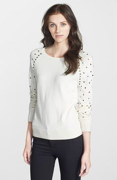 Halogen® Embellished Raglan Sleeve Sweater (Regular & Petite) | Nordstrom