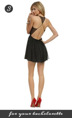 Try this fun and flirty backless Opening Ceremony dress for your Bachelorette! Get it from Rent the Runway for 75 dollars: http://www.renttherunway.com/shop/designers/openingceremony_dresses/catcalldress