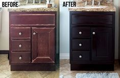 Learn how to use gel stain to easily update cabinets without any heavy sanding or stripping. This step-by-step tutorial and video shows you how to update outdated cabinets quickly with this affordable idea. Painting Bathroom Cabinets, Diy Bathroom Vanity, Diy Vanity, Washroom, Bathroom Furniture, Bathroom Ideas, Staining Cabinets, Diy Cabinets, Cupboards