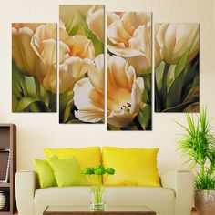 Tulips Flower Floral Wall Art Canvas Modular Painting Oil Modern Decorative Wall Pictures For Living Room Paint By Number Scenery Paintings, Rainbow Wallpaper, Panel Wall Art, Floral Wall Art, Decorating With Pictures, Tulips Flowers, Oil Painting On Canvas, Picture Wall, Landscape Art