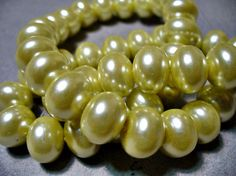 Glass Pearls Butter Rondelle 12x8MM by ExtremeBeadOverload on Etsy