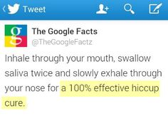 The cure for hiccups. Really? Have to remember this next time I have them