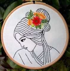 Flowers in Her Hair Modern Embroidery Kit | Modern Embroidery Kits for Beginners