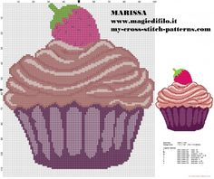 easy cross-stitch pattern cupcake with strawberry