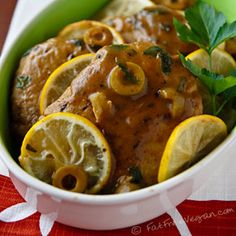 Seitan Scaloppine: Tender seitan cutlets in a lemon-olive sauce. Vegan and amazing!
