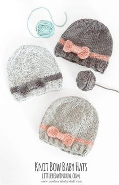 Baby Knitting Patterns Knit Bow Baby Hats | littleredwindow.com | A quick & easy kn...