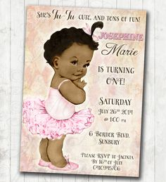 Ballerina Birthday Ballerina Invitation - African American - First Birthday - Tutu - Pink - FREE SHIPPING or DIY Printable by jjMcBean on Etsy. ballerina birthday invitations, unique custom birthday invitations, elegant birthday invitations, birthday invitations for girls