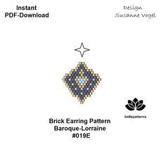 beaded earring pattern,brick stitch, PDF-Download,#019E, beading pattern,earring pattern,pendant pattern,brick pattern, bellepatterns,pdf von bellepatterns auf Etsy