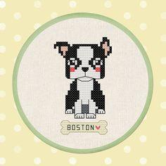 Cute Boston Terrier Cross Stitch Pattern. Modern Simple Cute