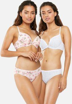 Joyce 2 pack push up pluge bra - floral/melange DORINA Bras | Superbalist.com Hip Bones, Body Measurements, Push Up, Bikinis, Swimwear, Tights, Floral, Fashion, Moda