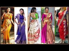 Saree Draping in Different Style Designs Lehanga Saree, Half Saree Lehenga, Lehenga Style, Saree Dress, Saree Wearing Styles, Saree Styles, Sari Draping Styles, Saree Jacket Designs, Marathi Saree