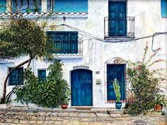 casa-bedarte Gouache, Inspirational, Mansions, House Styles, Painting, Art, Houses, Graphics, Pictures