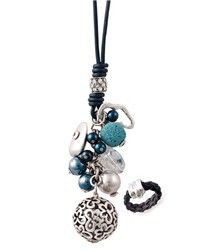 Baubles and Beads necklace is a fun, fanciful necklace that comes with a blue velvet, precious metal rhodium plated braided ring. $46.00