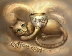 Coffee Cat Painting// Cat art print //Your not drinking coffee alone if the cat is with you.