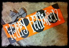 5x16 Happy Halloween with Polka Dots - Cute Painted Wood Sign - Halloween Decoration, Door Hanger. $38.00, via Etsy.